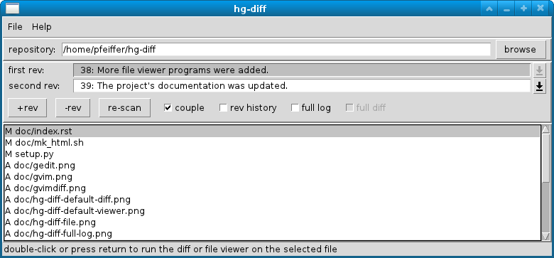 hg-diff a graphical user interface to compare mercurial revisions